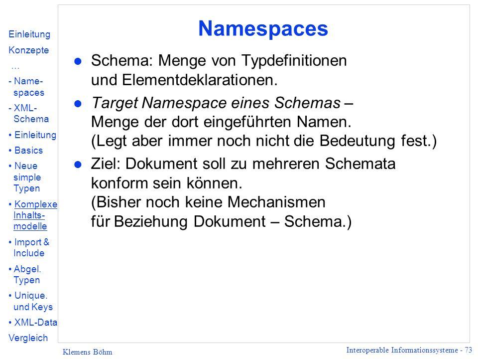 Namespaces Schema: Menge von Typdefinitionen und Elementdeklarationen.