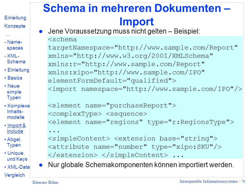 Schema in mehreren Dokumenten – Import