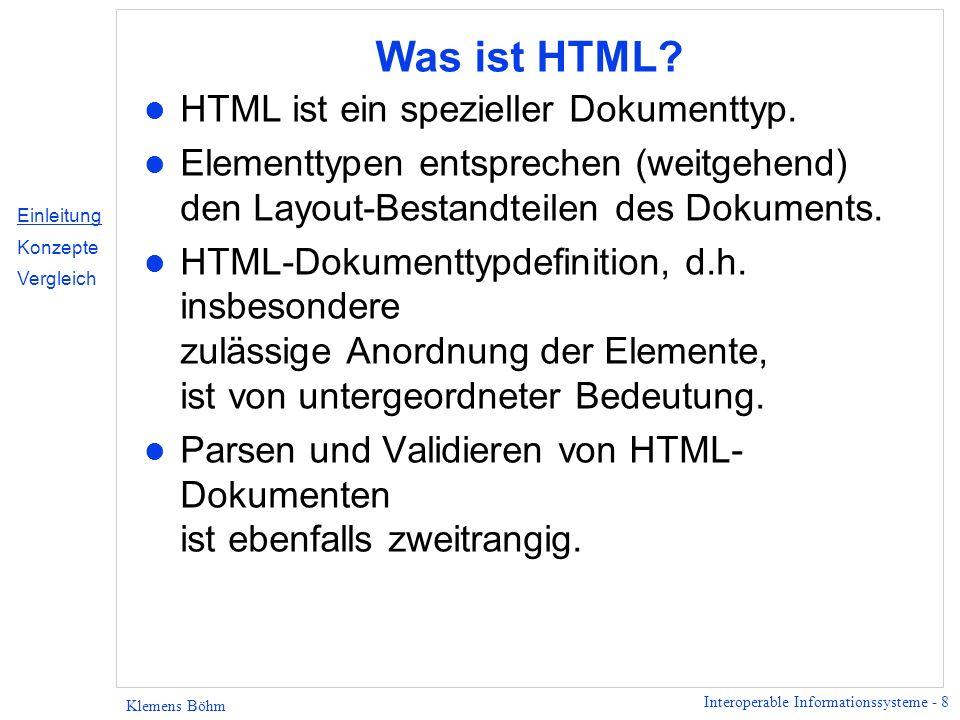 Was ist HTML HTML ist ein spezieller Dokumenttyp.