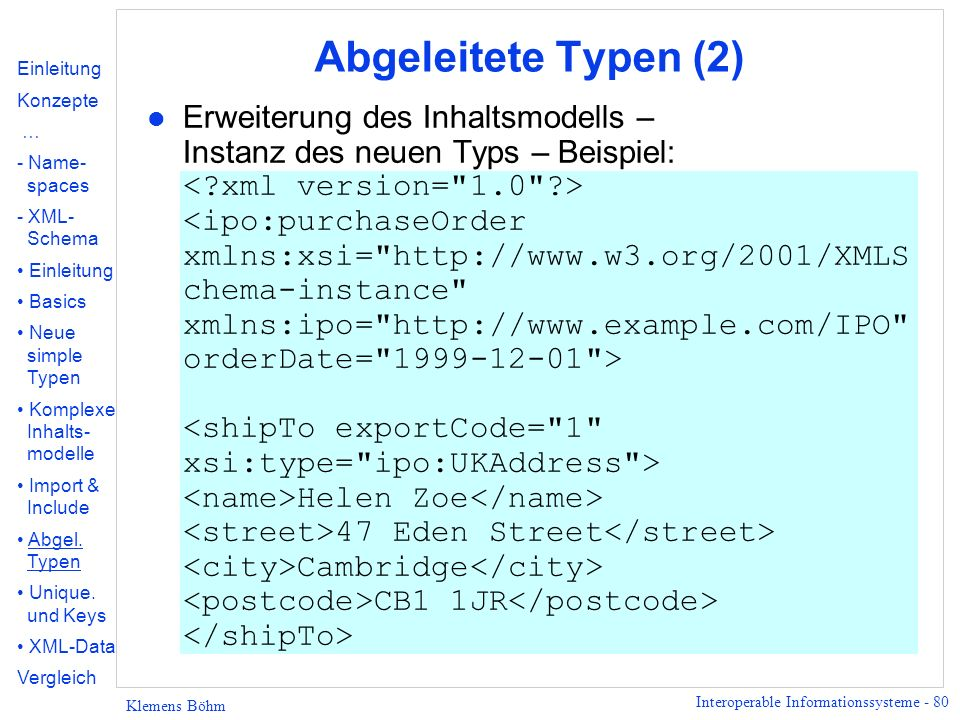 Abgeleitete Typen (2) Einleitung. Konzepte. … - Name- spaces. XML- Schema. Basics. Neue simple Typen.