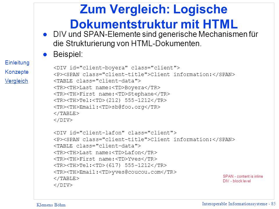Zum Vergleich: Logische Dokumentstruktur mit HTML