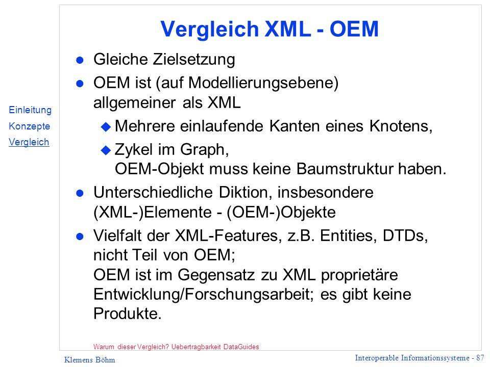 Vergleich XML - OEM Gleiche Zielsetzung
