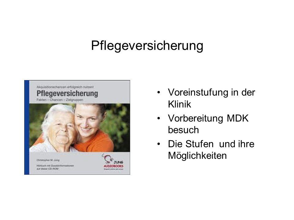 Pflegeversicherung Voreinstufung in der Klinik Vorbereitung MDK besuch