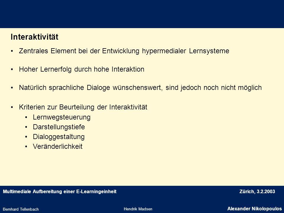 Interaktivität Zentrales Element bei der Entwicklung hypermedialer Lernsysteme. Hoher Lernerfolg durch hohe Interaktion.