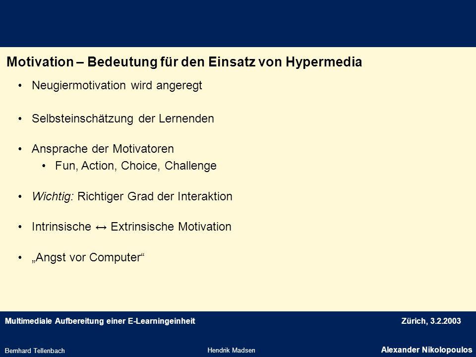 Motivation – Bedeutung für den Einsatz von Hypermedia