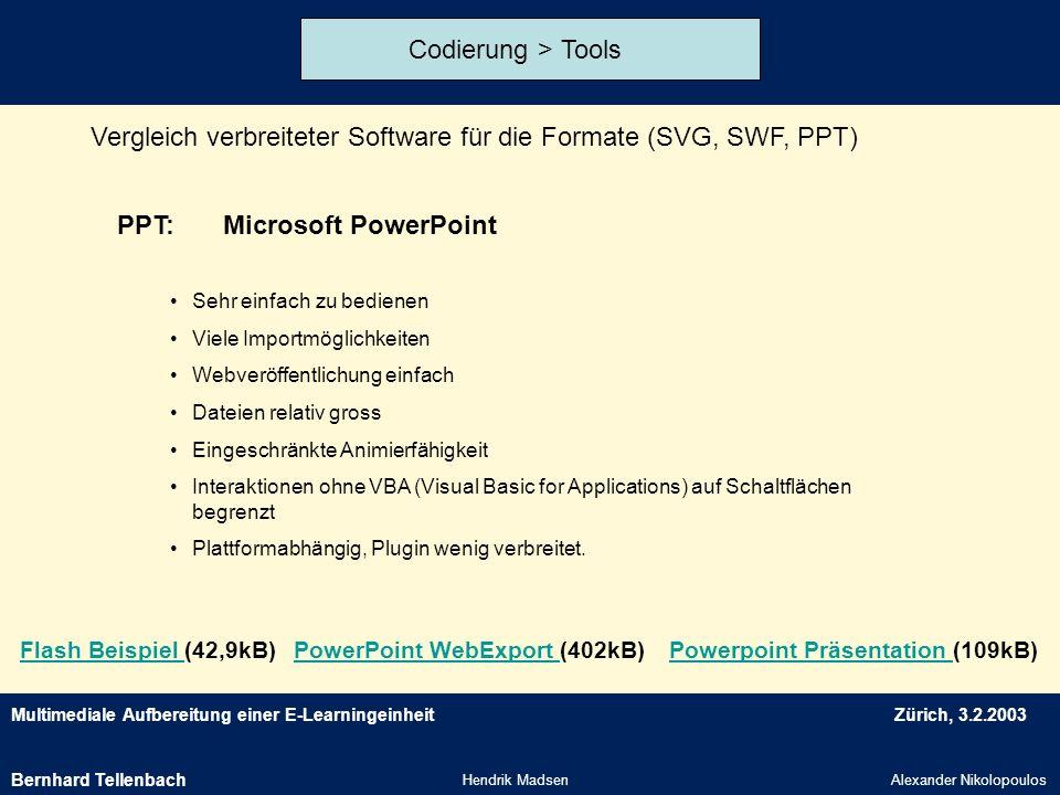 Vergleich verbreiteter Software für die Formate (SVG, SWF, PPT)