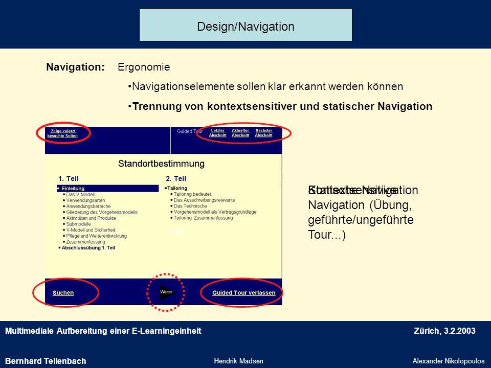 Kontextsensitive Navigation (Übung, geführte/ungeführte Tour...)