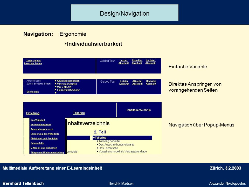 Design/Navigation Navigation: Ergonomie Individualisierbarkeit