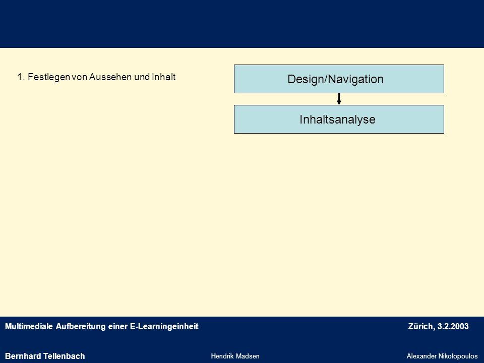 Design/Navigation Inhaltsanalyse 1. Festlegen von Aussehen und Inhalt