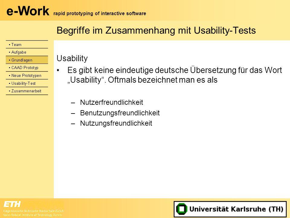 Begriffe im Zusammenhang mit Usability-Tests
