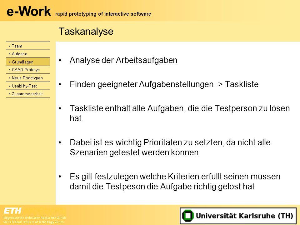 Taskanalyse Analyse der Arbeitsaufgaben