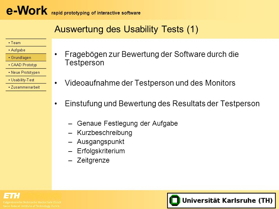 Auswertung des Usability Tests (1)