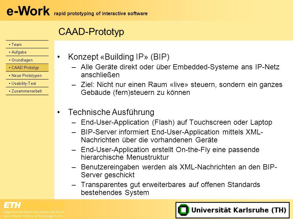 CAAD-Prototyp Konzept «Building IP» (BIP) Technische Ausführung