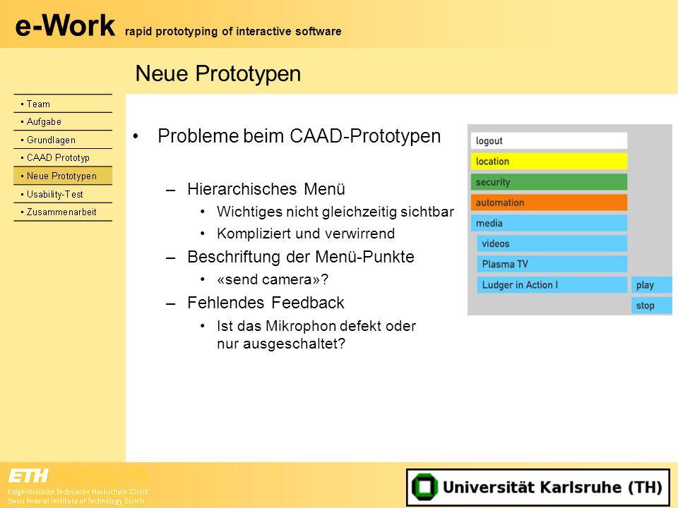 Neue Prototypen Probleme beim CAAD-Prototypen Hierarchisches Menü