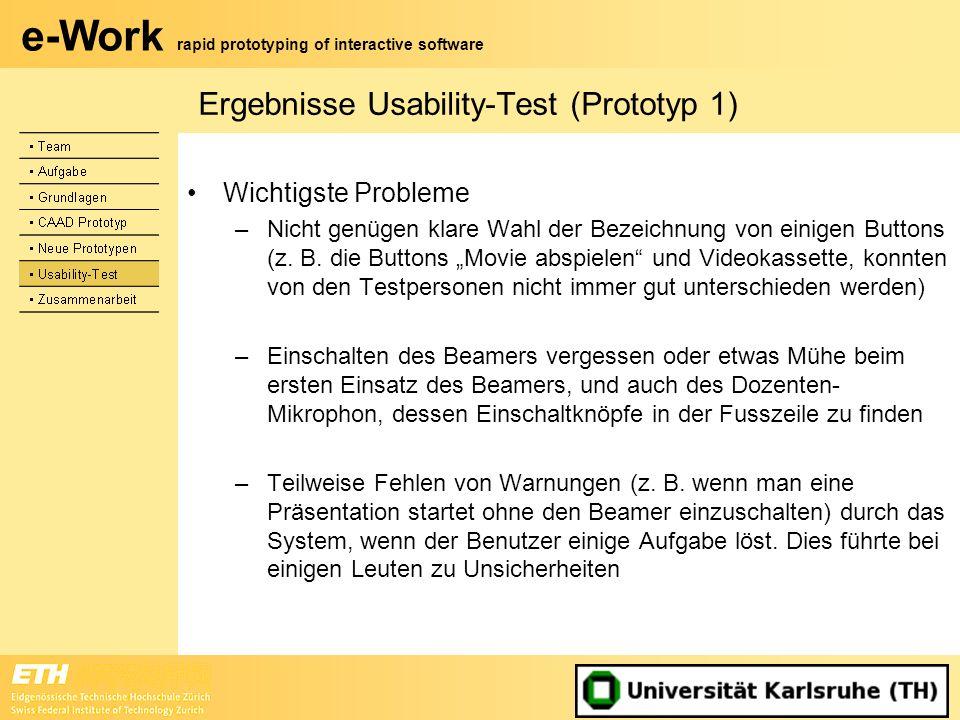 Ergebnisse Usability-Test (Prototyp 1)