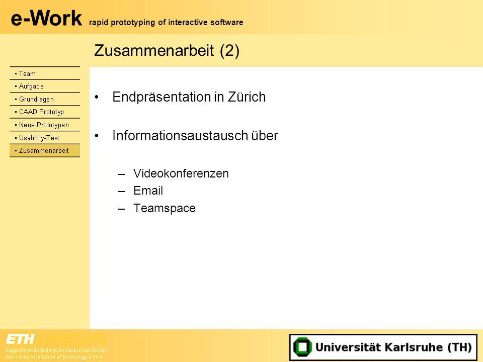Zusammenarbeit (2) Endpräsentation in Zürich