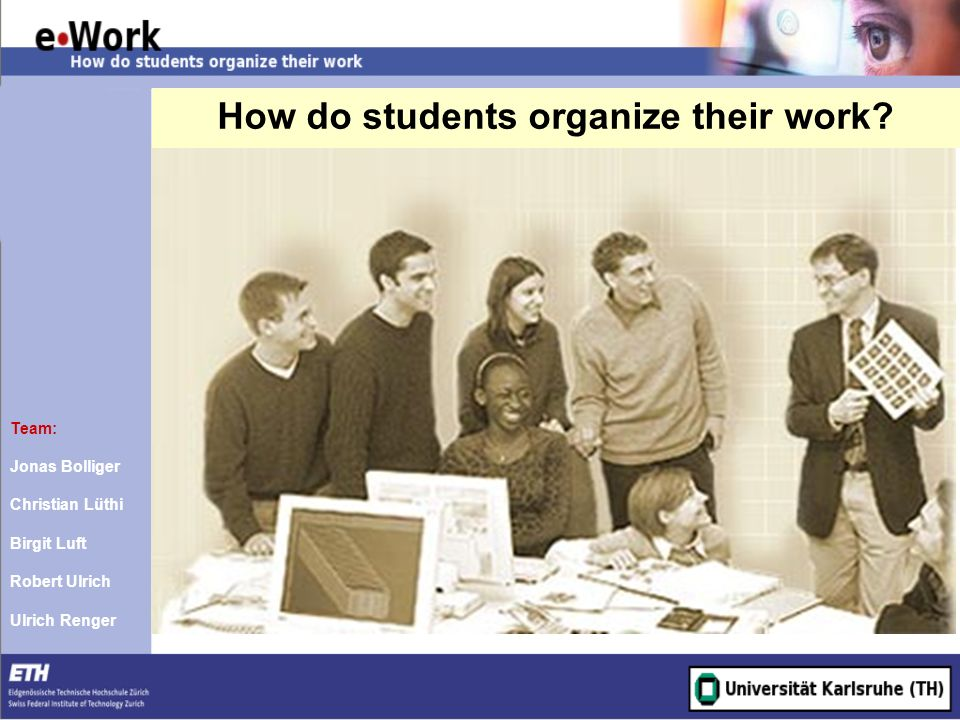 How do students organize their work