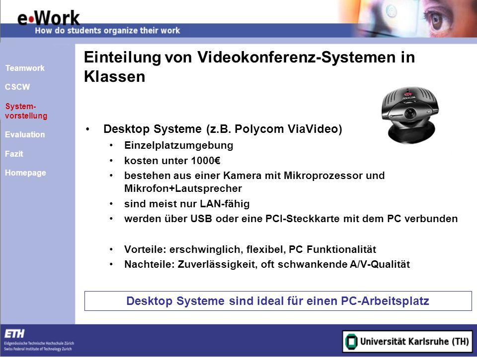 Einteilung von Videokonferenz-Systemen in Klassen