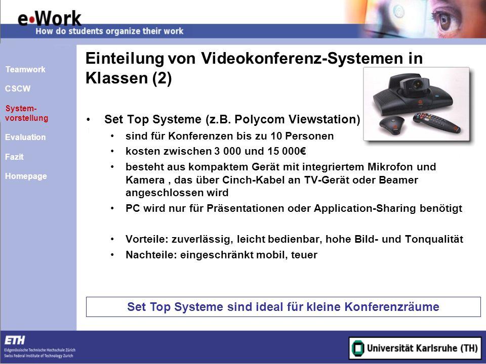 Einteilung von Videokonferenz-Systemen in Klassen (2)