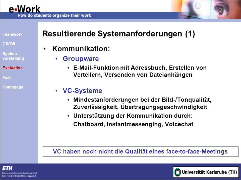 Resultierende Systemanforderungen (1)