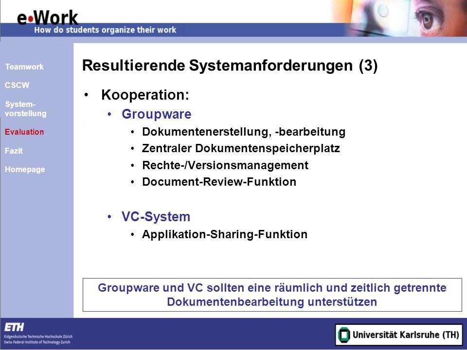 Resultierende Systemanforderungen (3)