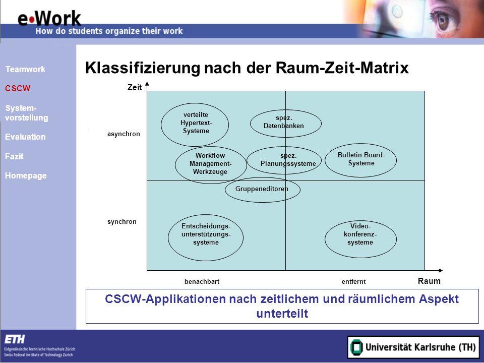 Klassifizierung nach der Raum-Zeit-Matrix
