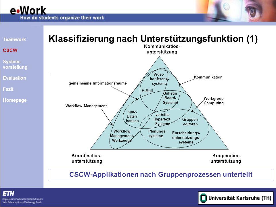 Klassifizierung nach Unterstützungsfunktion (1)