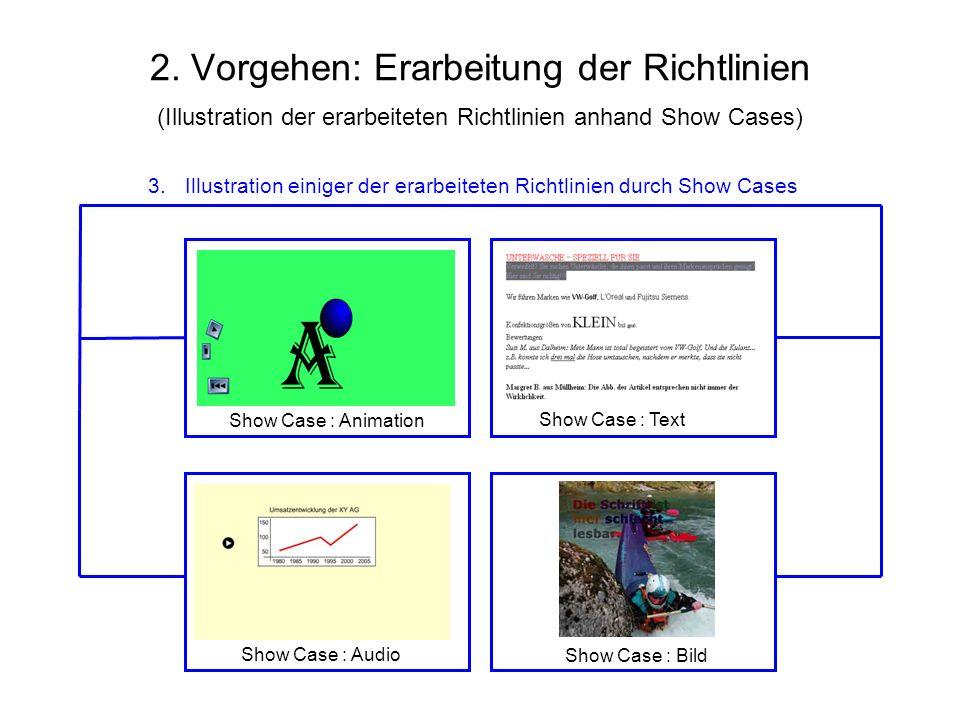 2. Vorgehen: Erarbeitung der Richtlinien (Illustration der erarbeiteten Richtlinien anhand Show Cases)