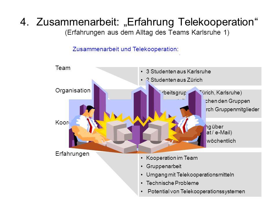 """Zusammenarbeit: """"Erfahrung Telekooperation (Erfahrungen aus dem Alltag des Teams Karlsruhe 1)"""
