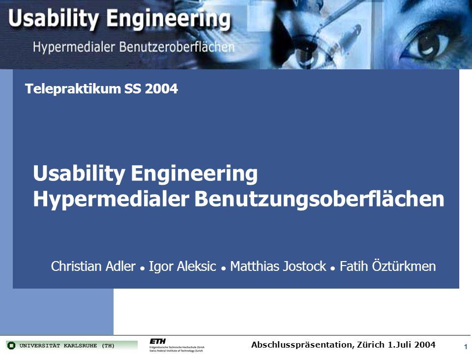 Usability Engineering Hypermedialer Benutzungsoberflächen