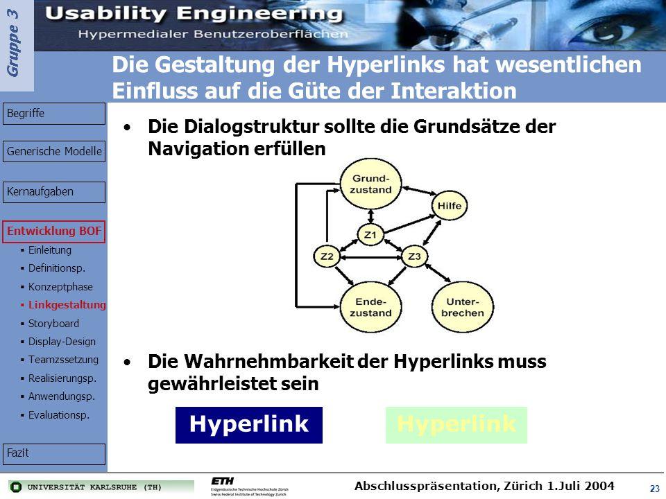 Die Gestaltung der Hyperlinks hat wesentlichen Einfluss auf die Güte der Interaktion
