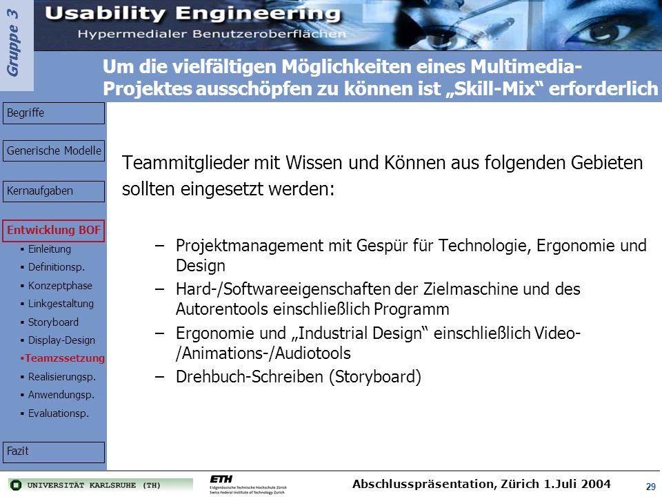 Teammitglieder mit Wissen und Können aus folgenden Gebieten