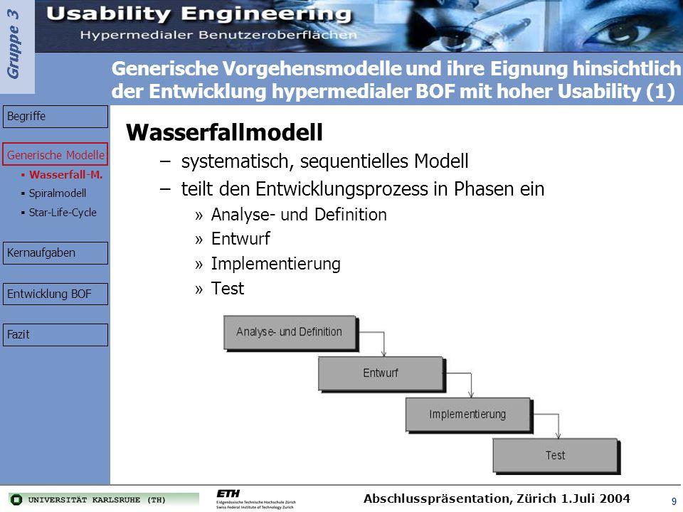 Generische Vorgehensmodelle und ihre Eignung hinsichtlich der Entwicklung hypermedialer BOF mit hoher Usability (1)