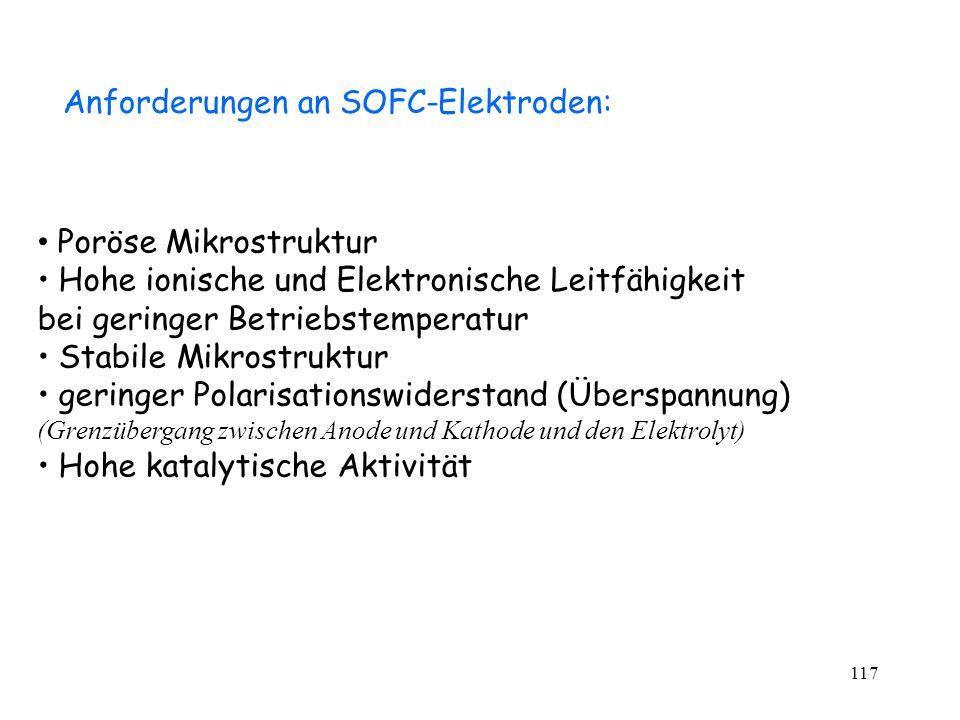 Anforderungen an SOFC-Elektroden:
