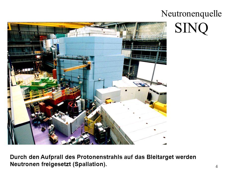 Neutronenquelle SINQ Durch den Aufprall des Protonenstrahls auf das Bleitarget werden Neutronen freigesetzt (Spallation).