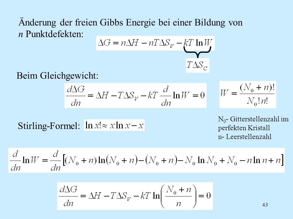 Änderung der freien Gibbs Energie bei einer Bildung von n Punktdefekten: