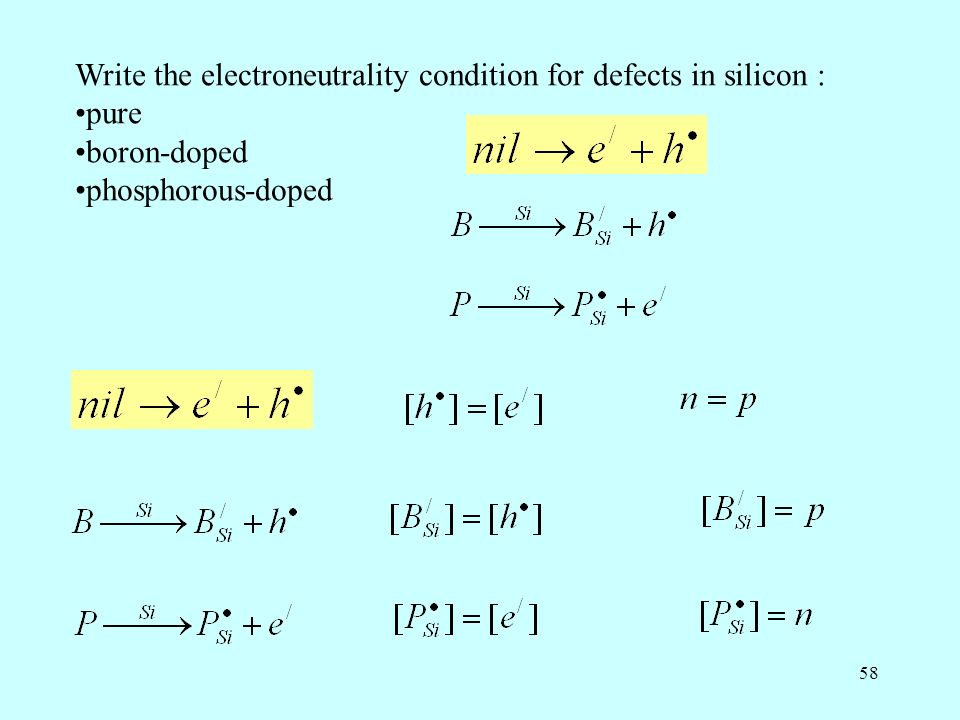 Write the electroneutrality condition for defects in silicon :