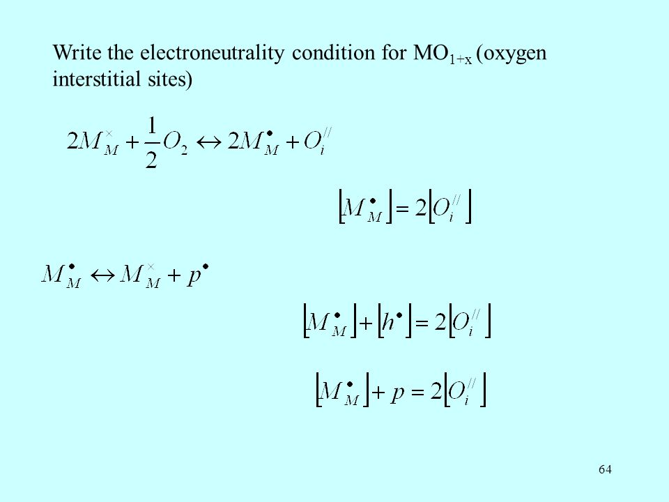 Write the electroneutrality condition for MO1+x (oxygen interstitial sites)
