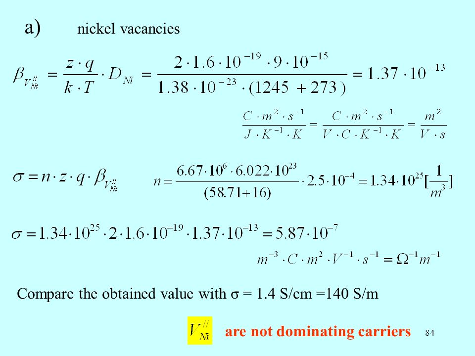 a) nickel vacancies. Compare the obtained value with σ = 1.4 S/cm =140 S/m.
