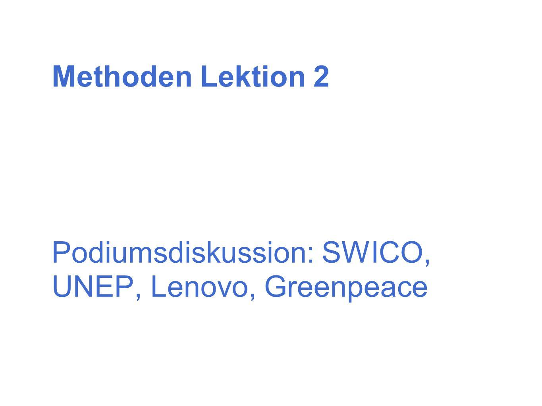Podiumsdiskussion: SWICO, UNEP, Lenovo, Greenpeace