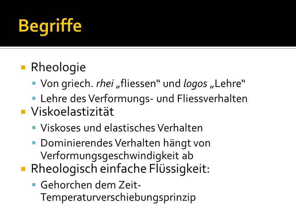 Begriffe Rheologie Viskoelastizität Rheologisch einfache Flüssigkeit: