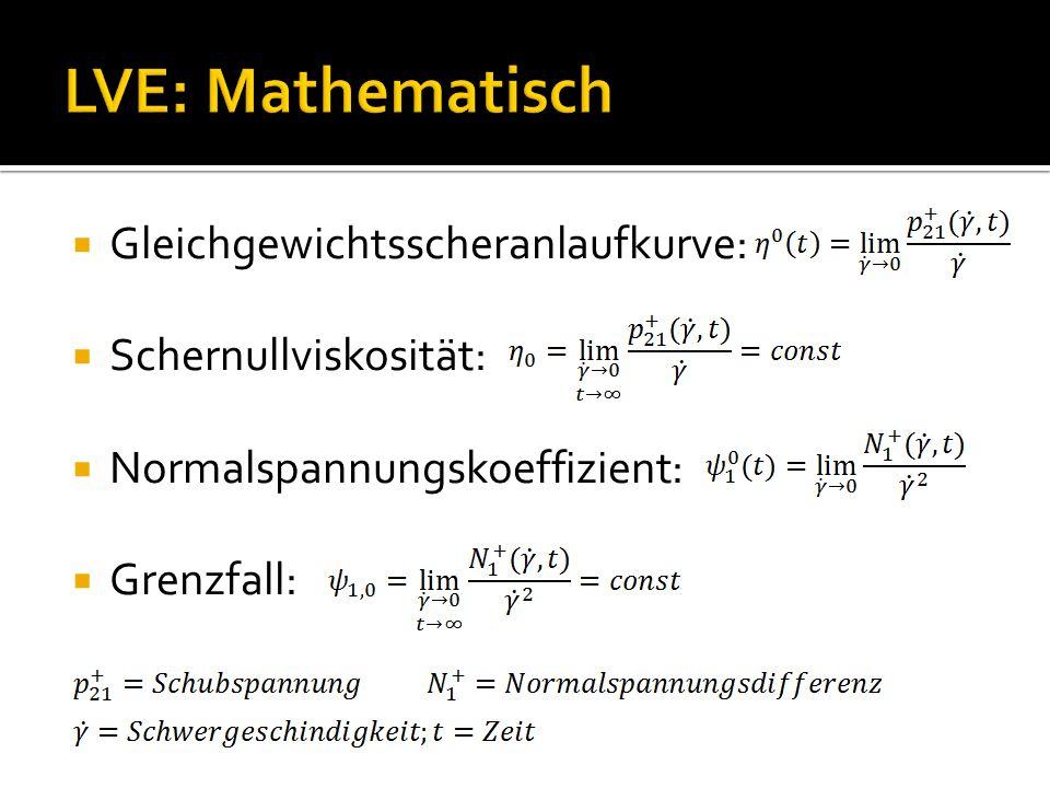 LVE: Mathematisch Gleichgewichtsscheranlaufkurve: Schernullviskosität: