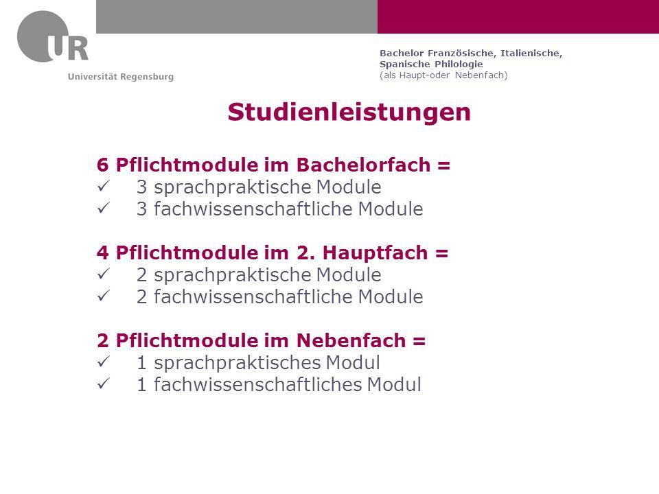 Studienleistungen 6 Pflichtmodule im Bachelorfach =