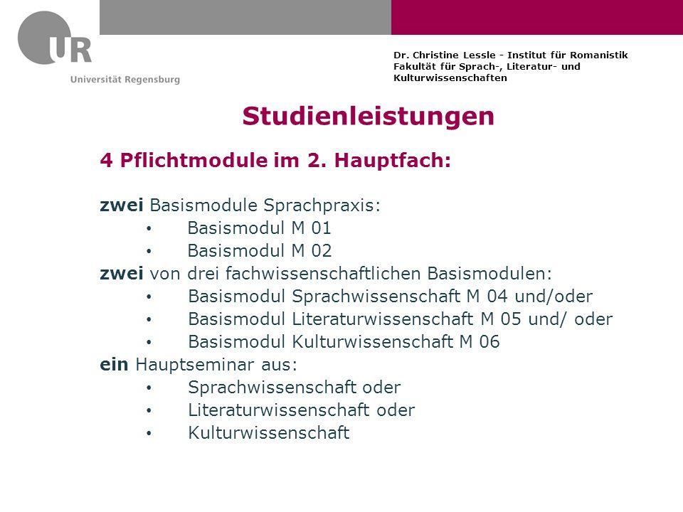 Studienleistungen 4 Pflichtmodule im 2. Hauptfach: