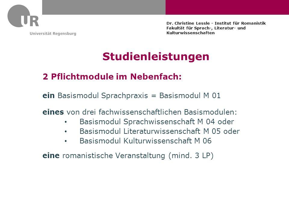 Studienleistungen 2 Pflichtmodule im Nebenfach: