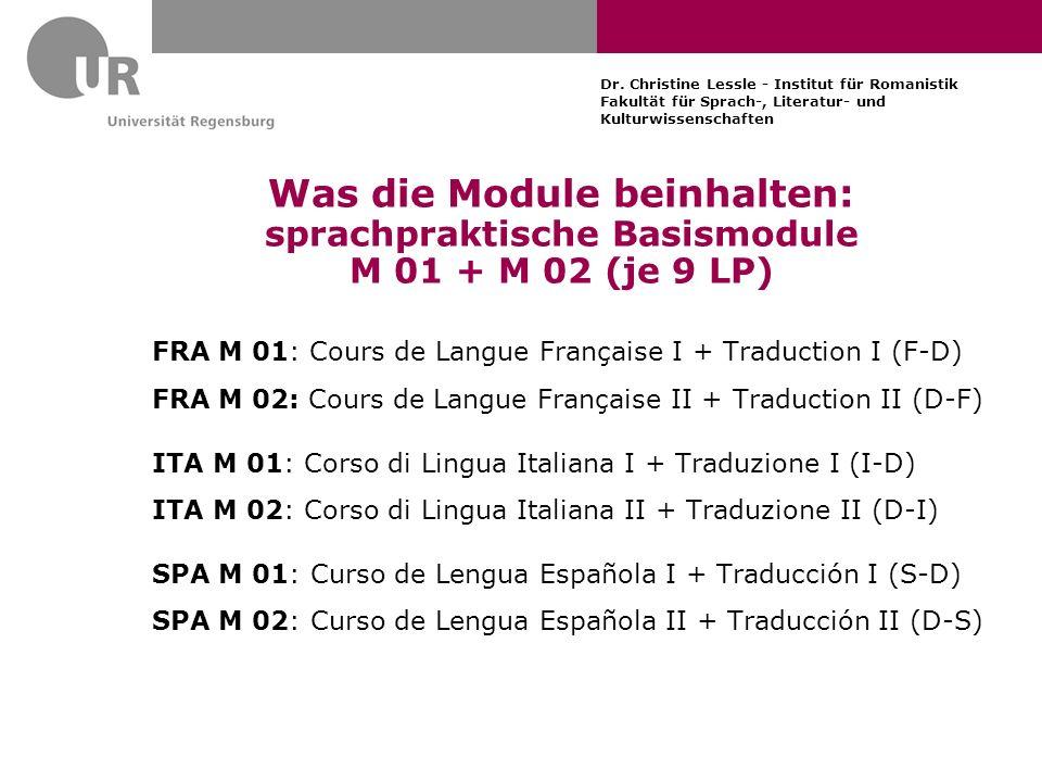 Dr. Christine Lessle - Institut für Romanistik Fakultät für Sprach-, Literatur- und Kulturwissenschaften