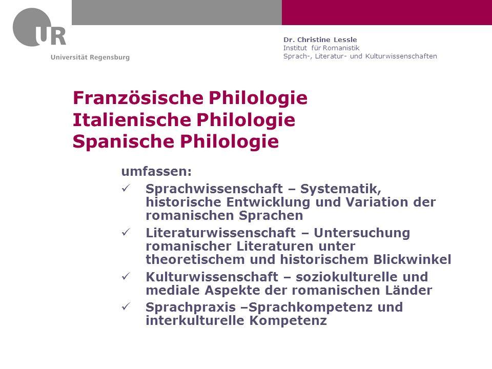 Französische Philologie Italienische Philologie Spanische Philologie
