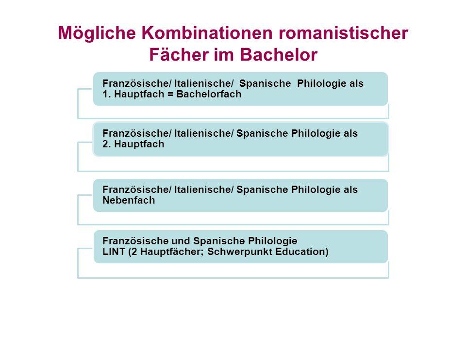 Mögliche Kombinationen romanistischer Fächer im Bachelor