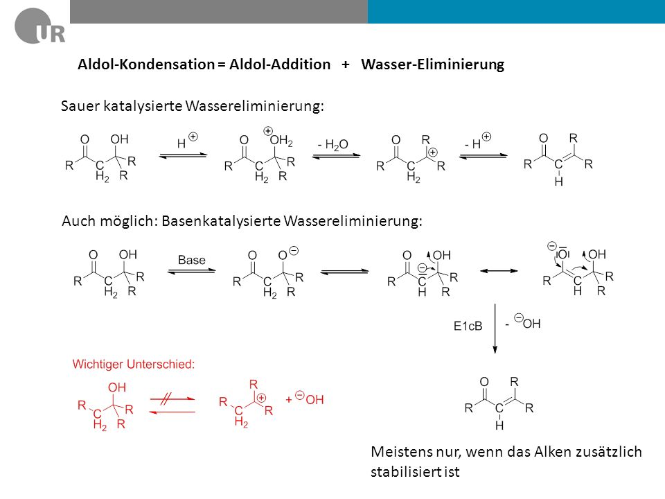 Aldol-Kondensation = Aldol-Addition + Wasser-Eliminierung