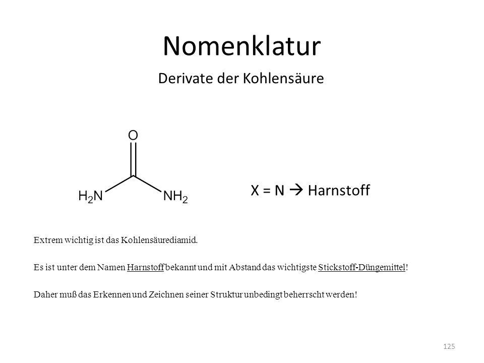 Nomenklatur Derivate der Kohlensäure X = N  Harnstoff